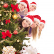 Group in santa hat by christmas tree. — Stock Photo
