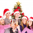 Group young in santa hat. — Stock Photo #7610105