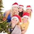 Group young in santa hat. — Photo