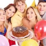 torta di holding del gruppo — Foto Stock