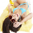 Girl in bikini wearing sunglasses. — Stock Photo