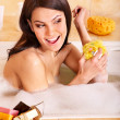 Woman take bubble  bath. - Foto de Stock