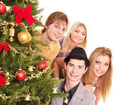 Group by christmas tree. — Stock Photo