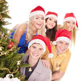 Group young in santa hat. — Foto de Stock