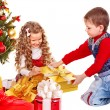 Kids with Christmas gift box. — Stock Photo #7840891