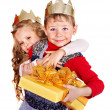 Kids with Christmas gift box. — Stockfoto