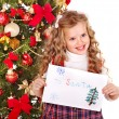 Kid with Christmas gift box. — Stock Photo #7840916