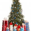 Christmas tree with silver ,blue ball, group gift box. — Stock Photo