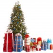Christmas tree silver and blue, group gift box, copy space. — Foto de Stock