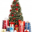 Christmas tree with ball and group gift box. — Stock Photo