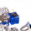 Stock Photo: Christmas corner with jingle bells. Isolated.