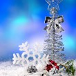 Christmas still life with snowflake. — Stock Photo