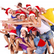 Group in santa hat. - Foto Stock