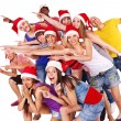 Group in santa hat. - Photo