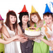 Group eat cake. — Stock Photo #7843101