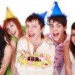 Group of with cake celebrate happy birthday. — Stock Photo