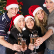 Group young in santa hat. — Stock Photo #7843120