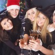 Group young in santa hat. — Stock Photo #7843130