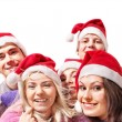 Group young in santa hat . — 图库照片