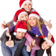Group young in santa hat . — Stock Photo #7843141