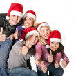 Group young in santa hat . — Stock Photo #7843144