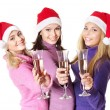 Girls in santa hat drinking champagne — Φωτογραφία Αρχείου