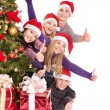 Group young in santa hat. — Stock Photo #7843170