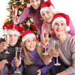 Group young in santa hat. — Stock fotografie #7843173