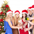 Group young in santa hat. — Stock Photo #7843181