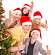 Group young in santa hat. — Stock Photo