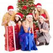 Group young in santa hat. — Stock Photo #7843191