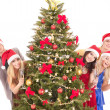 Group young in santa hat. — Stock Photo #7843194