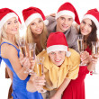 Group young in santa hat. — Stock Photo #7843206