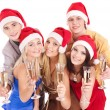 Group young in santa hat — Stock Photo #7843208