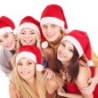 Group young in santa hat . — Stock Photo