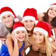 Group young in santa hat . — Stock Photo #7843216