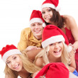 Group young in santa hat . — Photo