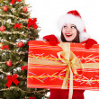 Christmas girl in santa hat and fir tree with red gift box. — Stock Photo #7843732