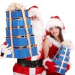 Santa clause and christmas girl with gift box group. — Stock Photo #7844632