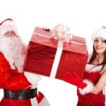 Santa claus and christmas girl with big gift box. — Stock Photo