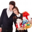 Happy man and girl with gift box. - Foto Stock