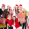 Group with children in santa hat . — Stock Photo
