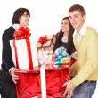 Group with stack gift box. — Stock Photo