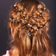 Rear view of  hairstyle with braiding. - Foto Stock