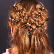 Rear view of  hairstyle with braiding. - Stock Photo