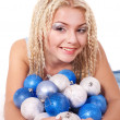 Young woman in christmas balls. — Stock Photo #7846521