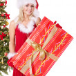 Christmas girl in santa hat holding gift box. — Stock Photo #7846528