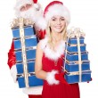 Santa claus and  girl holding gift box. — Stock Photo