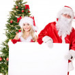Santa claus and christmas girl holding banner. — Stock Photo #7846630