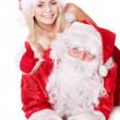 Santa claus and girl thumb up.. — Stock Photo